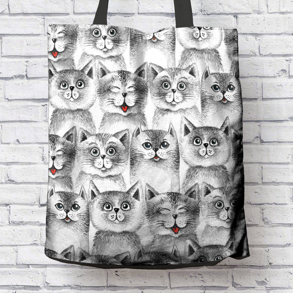 FUN BLACK & WHITE CAT CANVAS TOTE