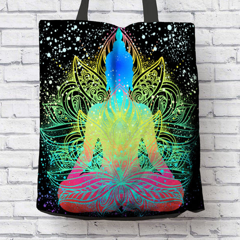 AMAZING MEDITATING BUDDHA CANVAS TOTE
