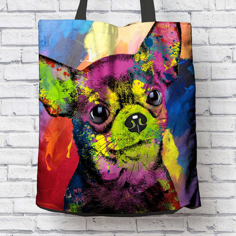 GORGEOUS POP ART CHIHUAHUA CANVAS TOTE