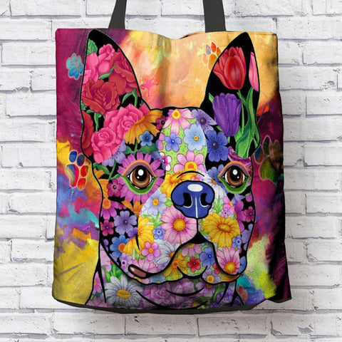 FABULOUS FLOWER BOSTON TERRIER CANVAS TOTE - NEW BIGGER SIZE
