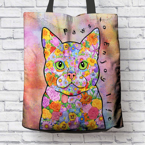 FUN PAWS TO ENJOY LIFE CANVAS TOTE
