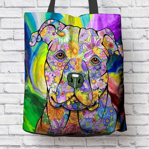 FABULOUS PIT BULL CANVAS TOTE - NEW BIGGER SIZE