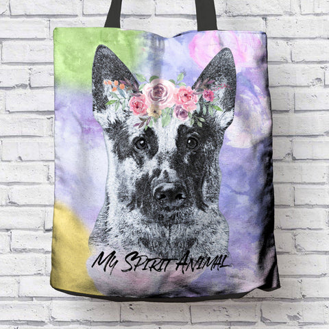 BEAUTIFUL GERMAN SHEPHERD SPIRIT ANIMAL CANVAS TOTE