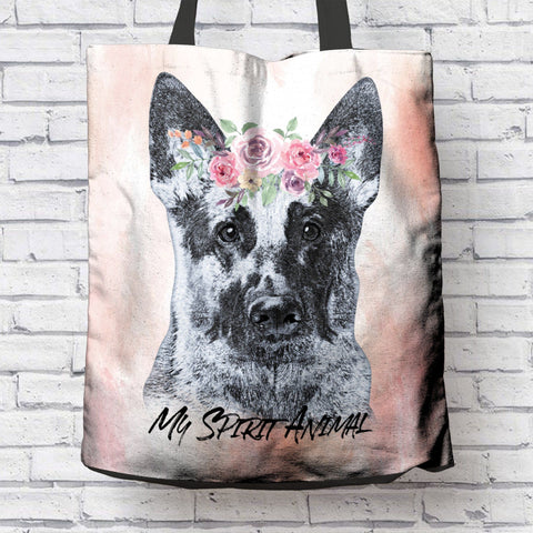 BEAUTIFUL GERMAN SHEPHERD SPIRIT ANIMAL PINK CANVAS TOTE