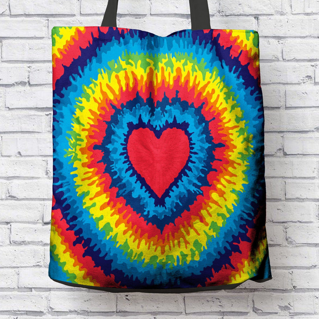 GROOVY HEART TIE DYE CANVAS TOTE