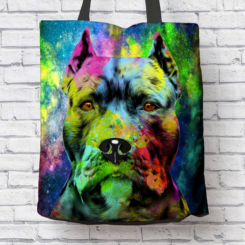 GORGEOUS POP ART PIT BULL CROPPED EARS CANVAS TOTE