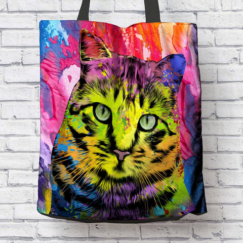 GORGEOUS POP ART CAT CANVAS TOTE