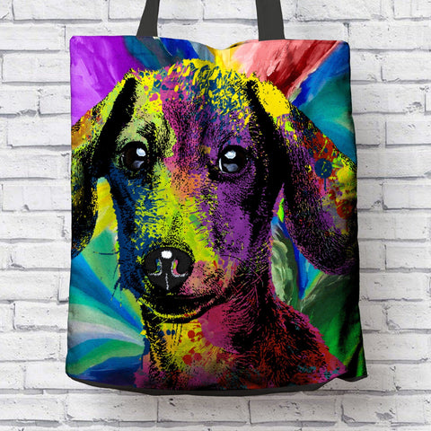 GORGEOUS POP ART DACHSUND CANVAS TOTE