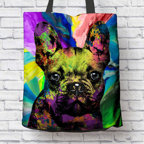 GORGEOUS POP ART FRENCH BULLDOG CANVAS TOTE