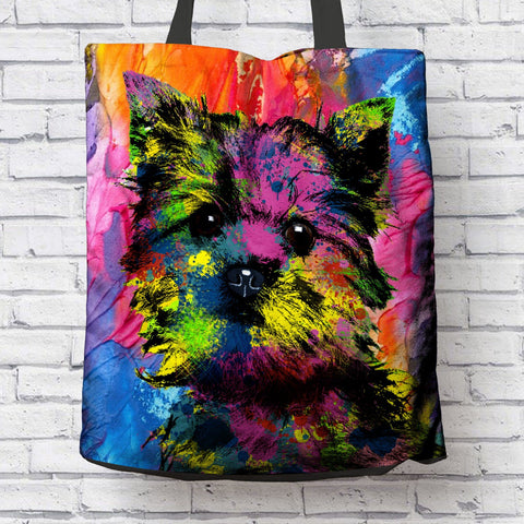 GORGEOUS POP ART YORKIE CANVAS TOTE