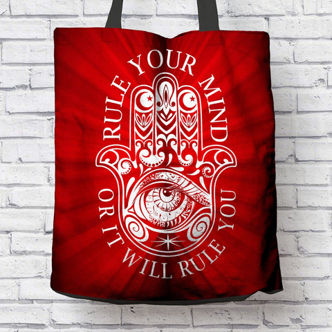 "BEAUTIFUL ""RULE YOUR MIND"" CANVAS TOTE"