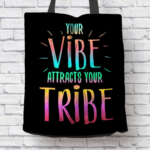 "AWESOME ""YOUR VIBE"" CANVAS TOTE"