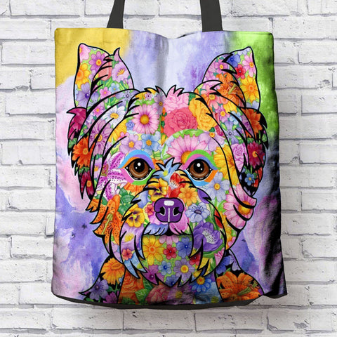 FABULOUS FLOWER YORKIE CANVAS TOTE - NEW BIGGER SIZE
