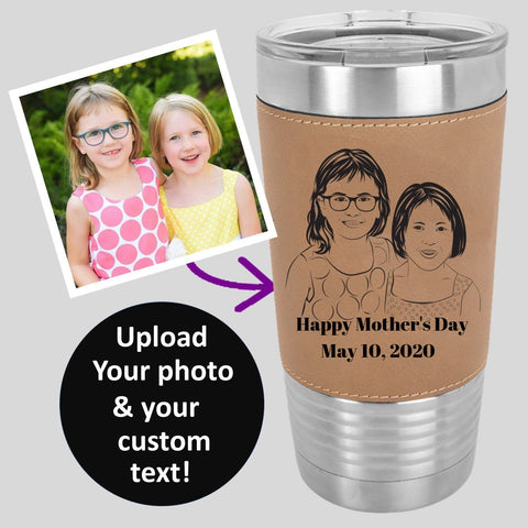 CUSTOM PHOTO POLAR CAMEL 20 oz Laser Etched Leatherette Tumbler - with YOUR PHOTO - 5 colors to choose from