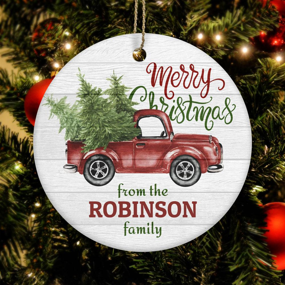 TRUCK PERSONALIZED Ceramic Circle Ornament