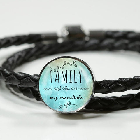 AWESOME FAMILY & OILS WRAP AROUND BRAIDED LEATHER BRACELET