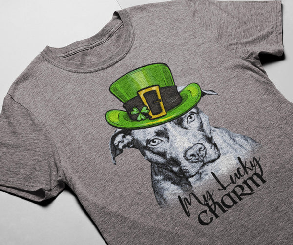 MY LUCKY CHARM PIT BULL HEATHER COLORED BELLA CANVAS TEES - SIZES TO 3XL - 2 COLORS