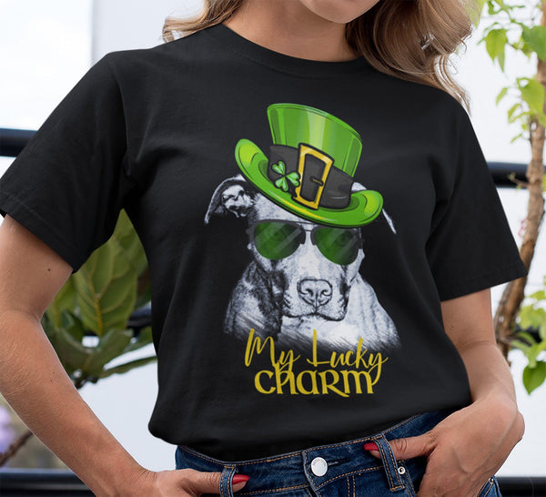 COOL LUCKY CHARM PIT BULL BLACK BELLA CANVAS TEE - SIZES TO 4XL