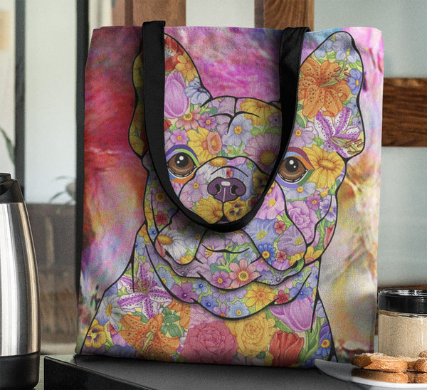 FABULOUS FLOWER FRENCH BULLDOG CANVAS TOTE - NEW BIGGER SIZE