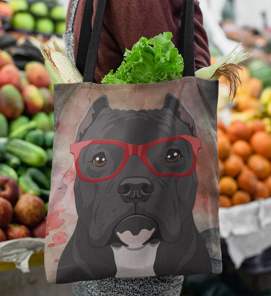 COOL HIPSTER PIT BULL CANVAS TOTE - CROPPED EARS - NEW BIGGER SIZE