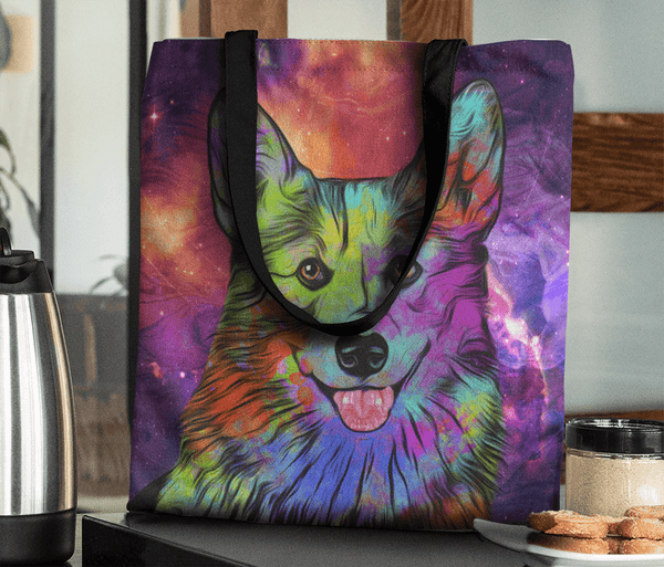 GORGEOUS POP ART CORGI DOG CANVAS TOTE - NEW BIGGER SIZE