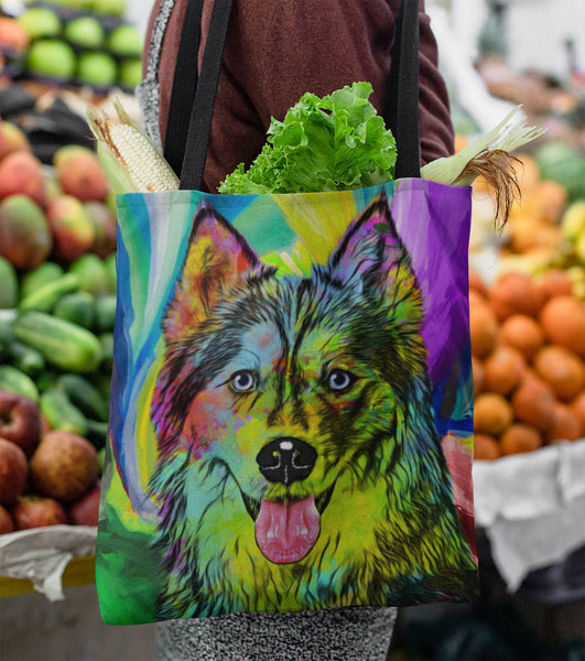 GORGEOUS POP ART HUSKY DOG CANVAS TOTE - NEW BIGGER SIZE