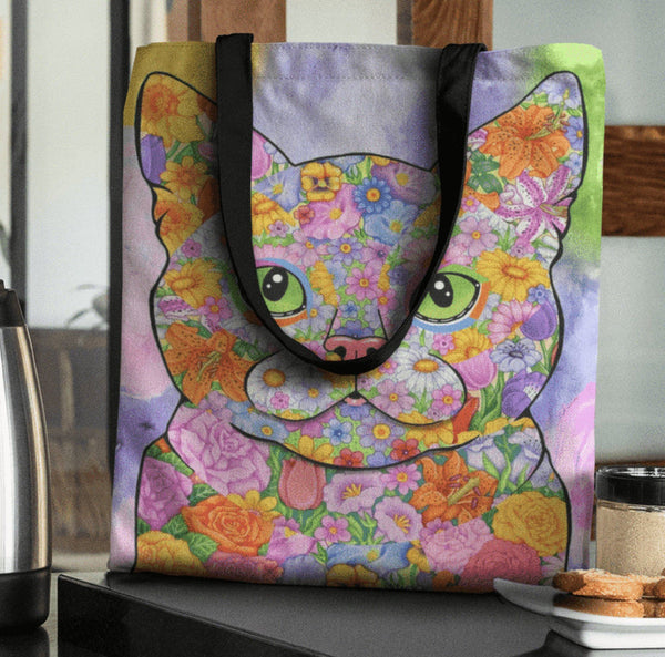 FABULOUS FLOWER CAT CANVAS TOTE - NEW BIGGER SIZE