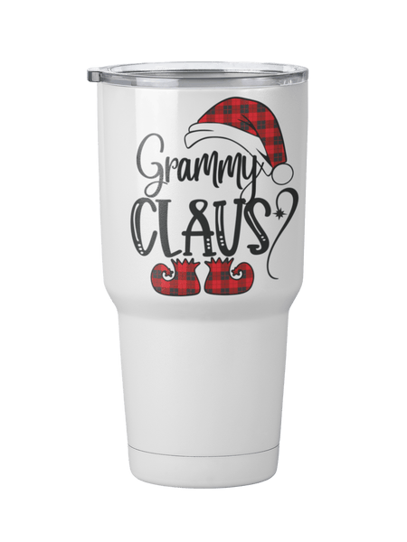 CUSTOM GRANDMA CLAUSE WHITE STAINLESS STEEL TUMBLER - INSTRUCTIONS FOR PERSONALIZATION BELOW