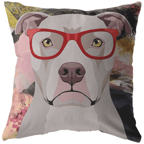 FREE SHIPPING: COOL HIPSTER PIT BULL THROW PILLOWS - 4 SIZES TO CHOOSE FROM IN STUFFED & SEWN, OR ZIP COVER ONLY, OR ZIP COVER & INSERT