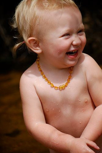 GOLDEN HONEY OVAL BALTIC AMBER BABY  NECKLACE