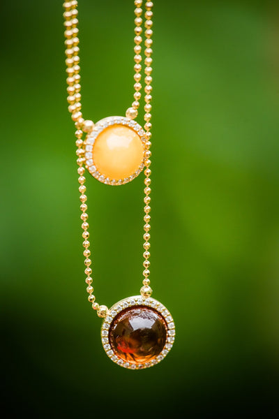 Cognac and Cherry Amber Necklace