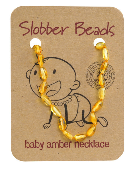 LEMON OVAL BALTIC AMBER BABY TEETHING NECKLACE -whol