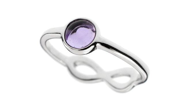 Double sided Amethyst Ring - Infinity Knot Ring