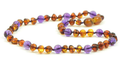 AMETHYST AND AMBER Teething necklace