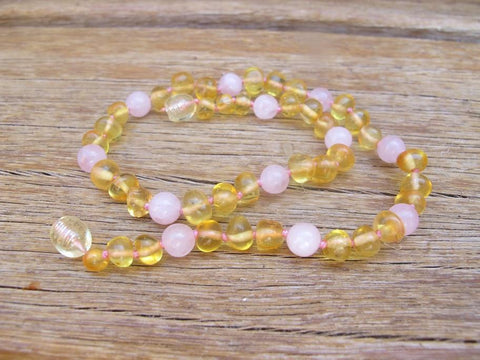 Amber and Rose quartz Baby Necklace