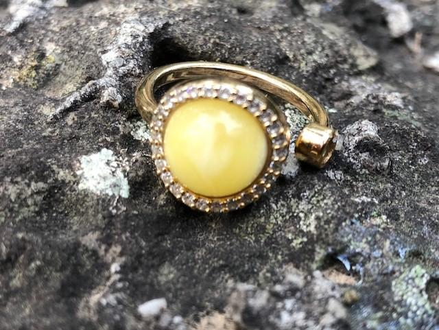 Milky Amber ring- adjustable