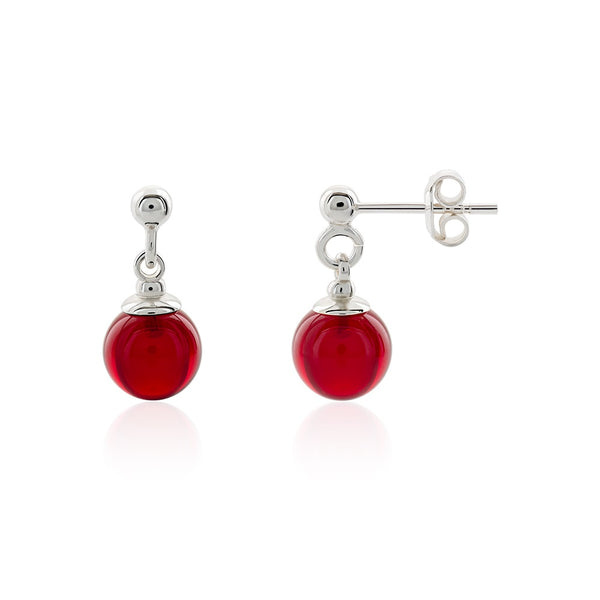 Small Red Amber Earrings