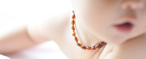 COGNAC OVAL BALTIC AMBER BABY  NECKLACE