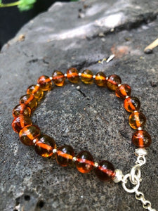 Cognac Amber Bracelet with silver clasp