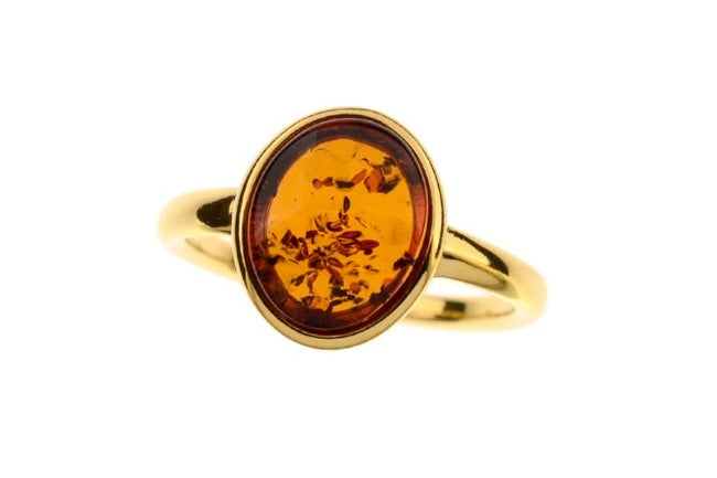 Modern Amber ring with Cognac Amber