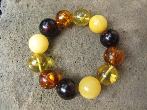 Mixed Baltic Amber Bracelet , size balls 16 mm