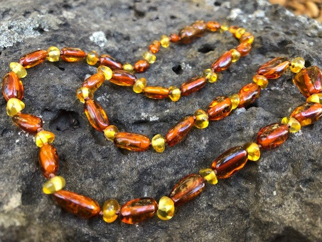 Cognac Oval Amber Necklace