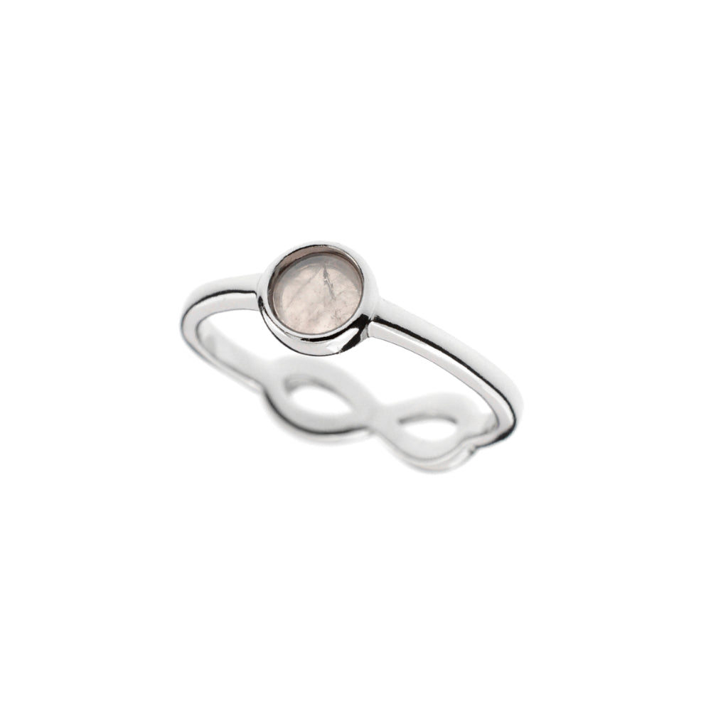 Double sided Rose Quartz Ring - Infinity Knot Ring