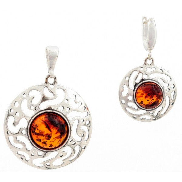 HONEY AMBER STERLING SILVER SET