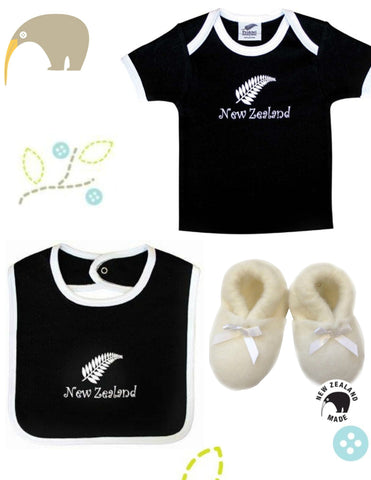 Deluxe Baby All Blacks or Black Fern Gift Box with NZ-made leather shoes