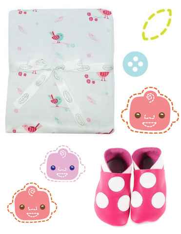 The Baby's Room Baby's Day Out Gift Box - Hot Pink Edition with Jersey Cotton Stroller Blanket and NZ-Made Leather Shoes Hot Pink Spots