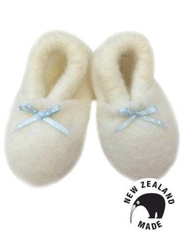 Pure NZ Made Felted Merino Booties - Blue Ribbon