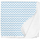 Jersey Cotton Stroller Blanket - Blue Chevron
