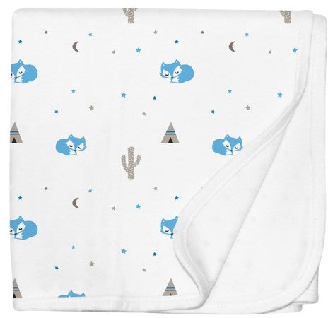 Jersey Cotton Stroller Blanket - Blue Foxy