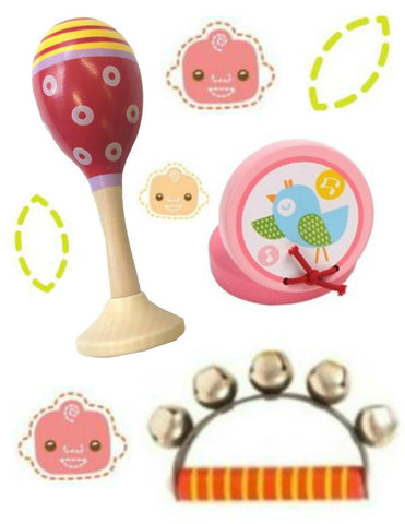The Baby's Room Musical Pink Toy Box with Wooden Maraca, Castanet and Bell Ring